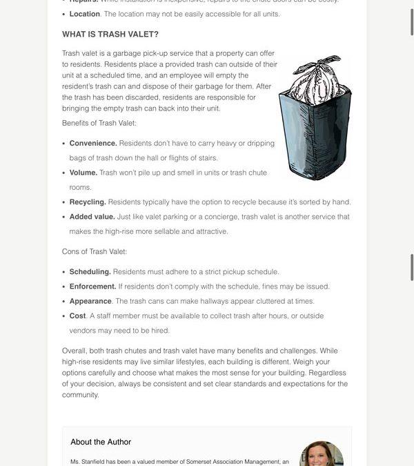 Trash Chute vs. Trash Valet